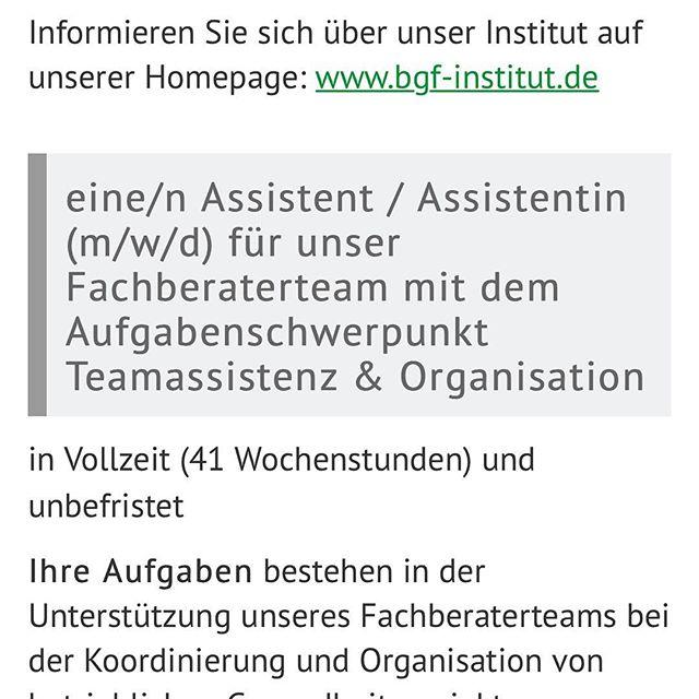 Mein Team beim BGF-Institut sucht tatkräftige Unterstützung: Wenn Du auf der Suche nach einem Job als Assistent/in in Köln bist, schau doch mal auf der Website des BGF-Instituts nach. Und wenn Du jemanden kennst, der jemanden kennt, gerne weitersagen. Merci!