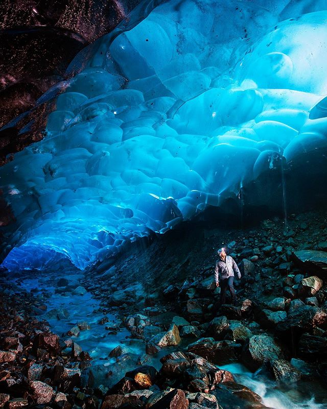 Sending cool vibes to Alaska after the record shattering warm temps last week. This picture was taken years ago under the Mendenhall glacier. Sadly it doesn't look like this anymore. . . . . #alaska #icecave #exploremore #glacier #climatechangeisreal #itsamazingoutthere #globalwarmingisreal #canon #exploreroflight #environmentalist #petzl #homerhorowitz #verticallandscape #Mendenhall #AK