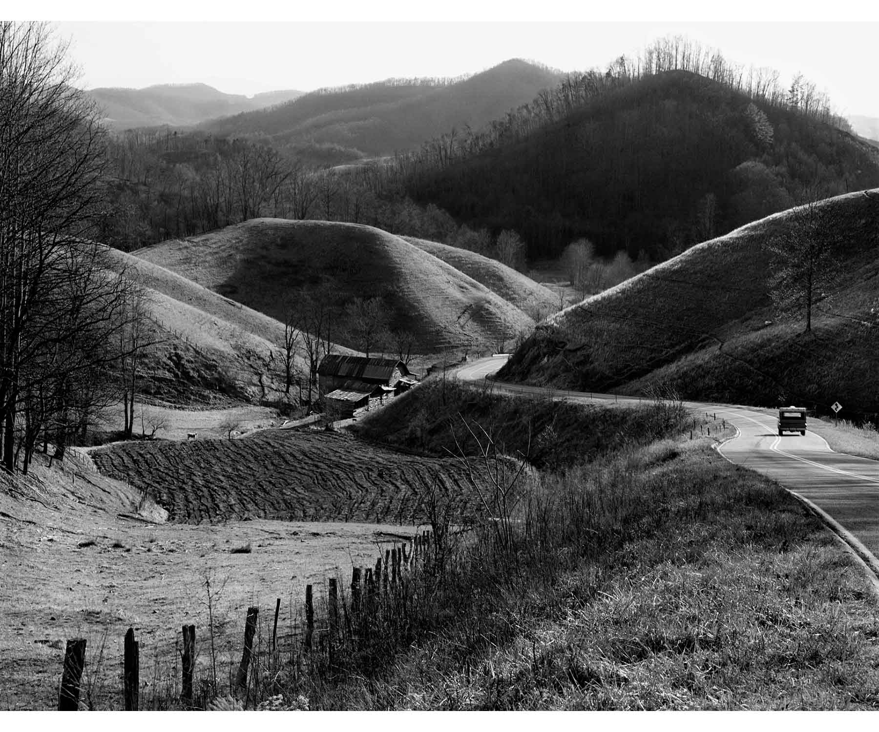 Rolling Hills and truck Madison County NC Appalachia Appalachian Tim Barnwell photography