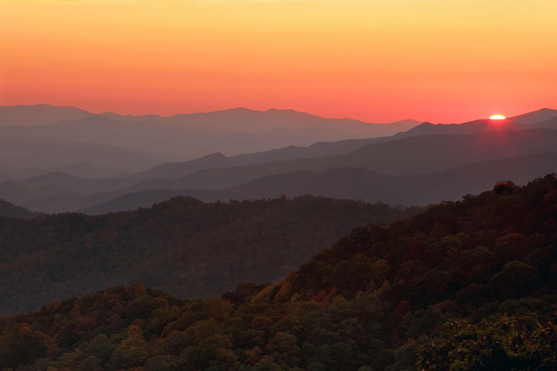 Great Smoky Mountains National Park Blue Ridge Parkway sunset Tim Barnwell photographer