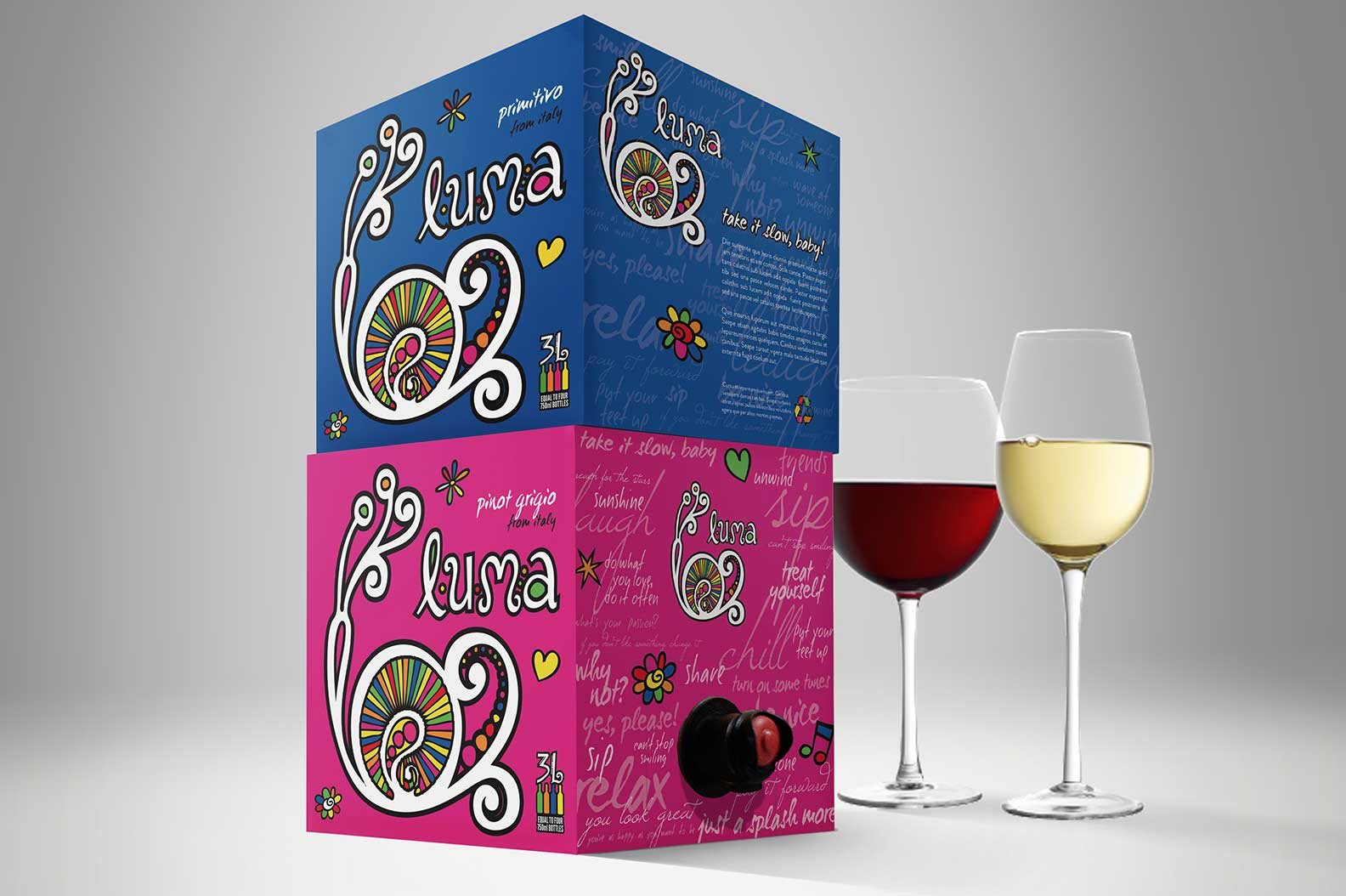 The Luma packaging was intended to reflect a wine with a more casual, social, fun, feel-good vibe. Two varieties shown here in a cube-box format.