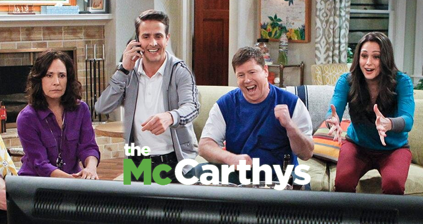 """The McCarthys    : I don't know what they're watching, but fifty bucks says it's better than """"The McCarthys."""" Even if it's just a blank screen."""