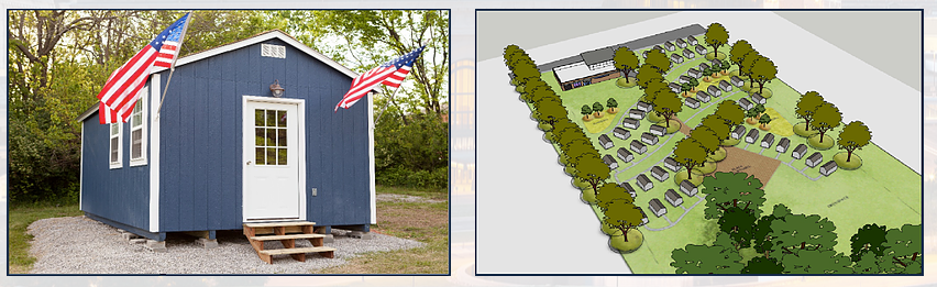 """Veterans Community Project plans to meet the needs of homeless Veterans through the development of a village of 50 tiny houses and a community center for Veterans to be used as transitional housing called """"Veterans Village"""". The goal is to take a Veteran off the streets and hand them the keys to their own mini home, with their own food, showers, electricity and bed.  Visit the  Veterans Community Project website to learn more!"""