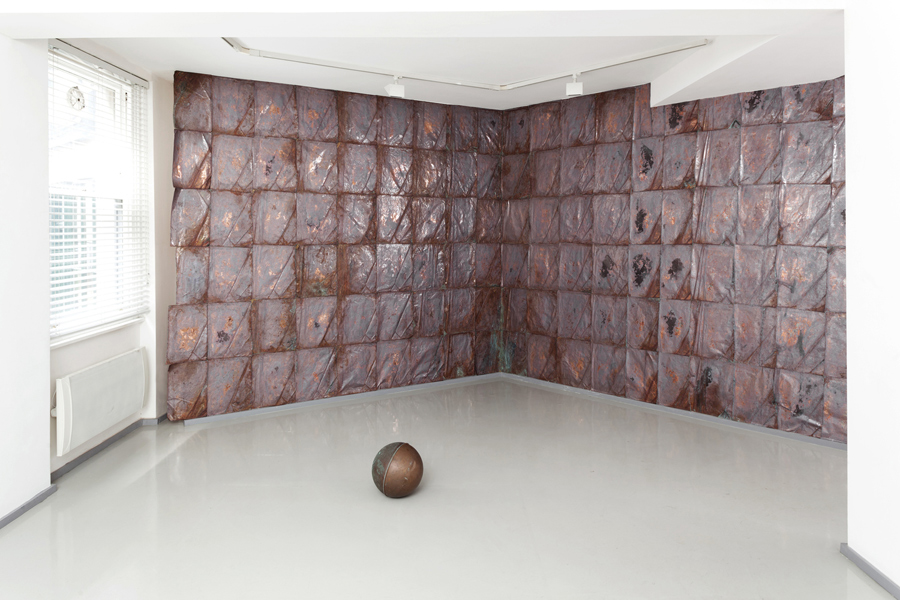 Untitled  2012 Copper sheeting and sphere Dimensions variable