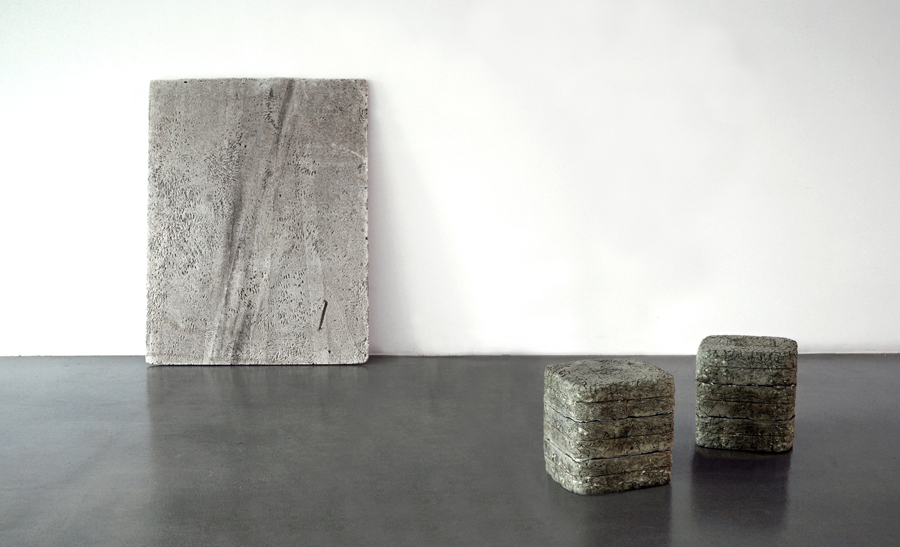 Untitled  (Part of  The Thanatosis of Objects series ) 2011 Polystyrene panel, rubber & aluminium cubes Dimensions variable