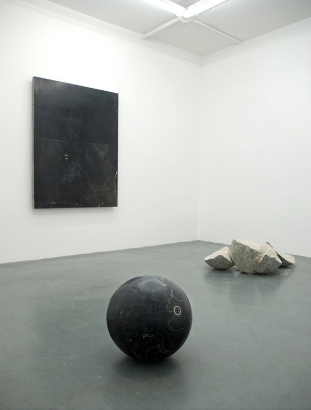 Untitled (Installation part of  The Thanatosis of Objects series ) 2010 Aluminium globe, screen print vacuum bed, concrete and stone Dimensions variable