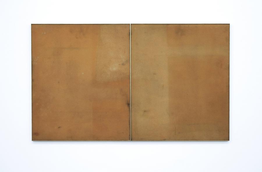 Untitled  2010 Solarized foam sheets, brass frame diptych 112 cm x 66cm