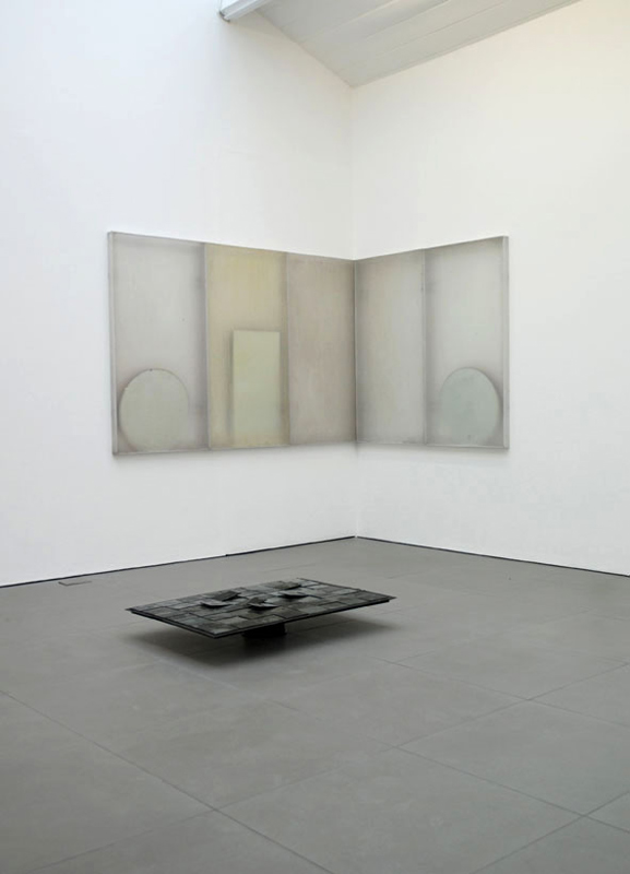 Untitled(Components & Variables)  2010 Light deflector panels, mirrors, photographic plates, rubber sheet Dimensions variable