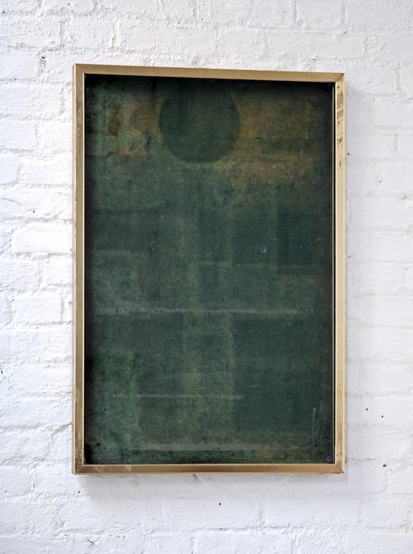 Untitled  2011 Solarized felt, glass, brass 98 x 60cm