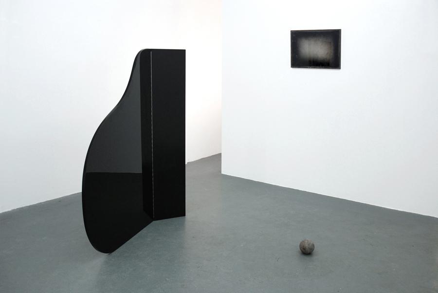 Untitled(coda)  2010 Grand piano lid, Perspex, lead ball Dimensions variable