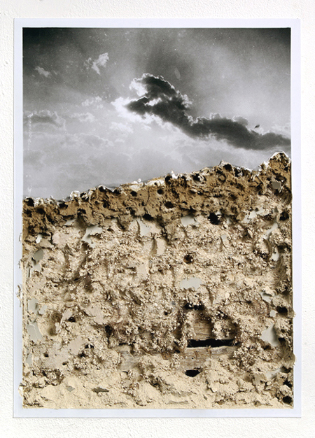 Untitled  2007 Enlarged found photograph, excavated / exposed gallery wall 40cm x 30cm