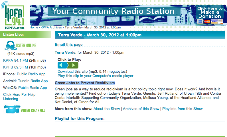 """""""Green Jobs to Prevent Recidivism,"""" a podcast from a local radio channel, KPFA"""