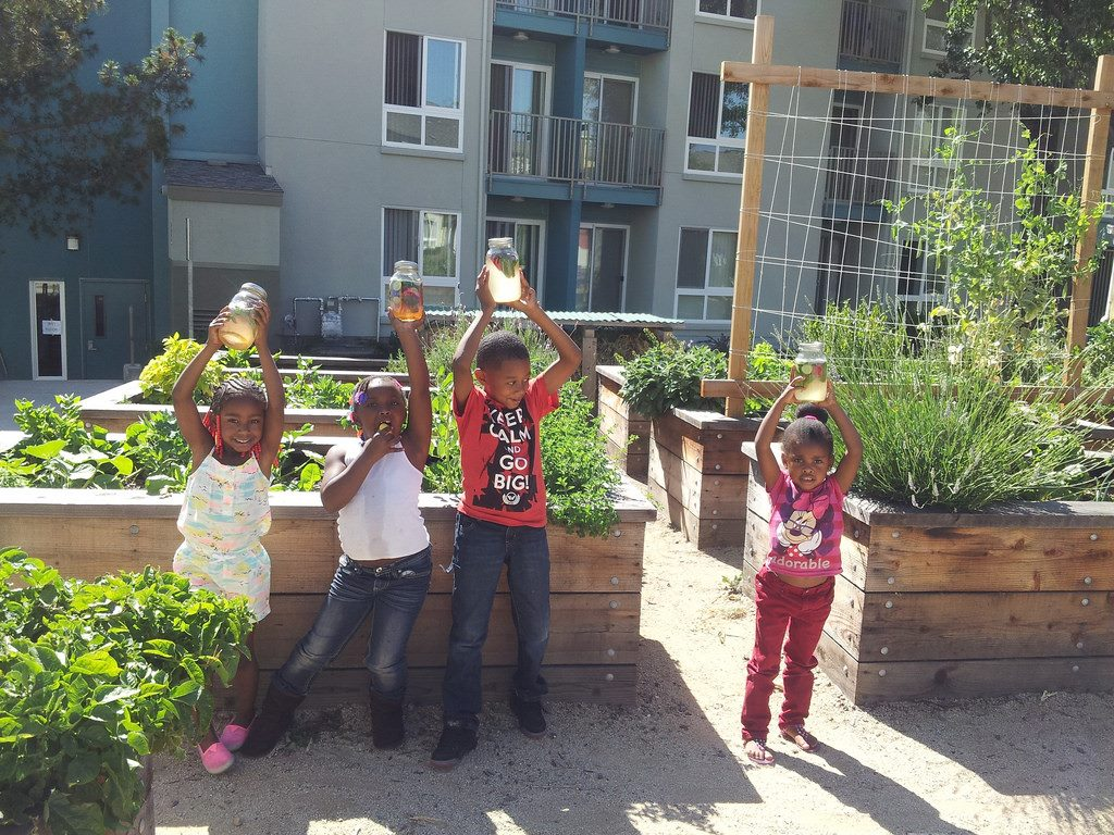 Youth at Keller Plaza apartments enjoyed making jars of vitamin water for themselves and others in their community.