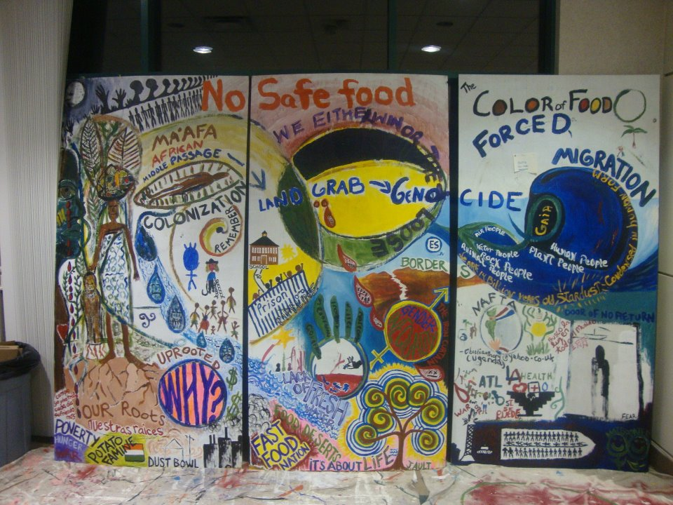 A collaborative mural made during the Growing Food and Justice Institute gathering in Milwaukee in 2011.