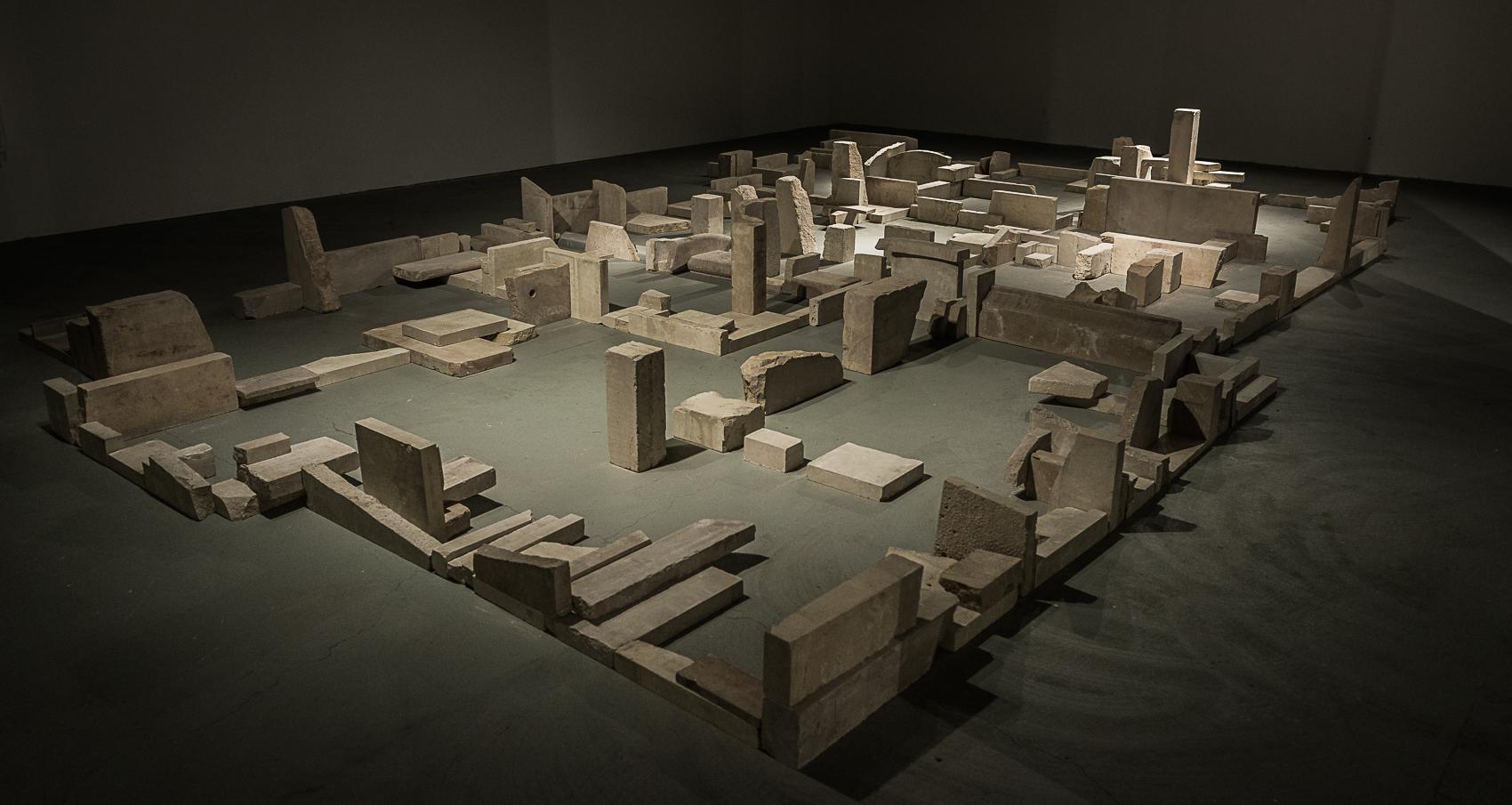 "The Hidden City    Limestone 32"" x 300"" x 220"""