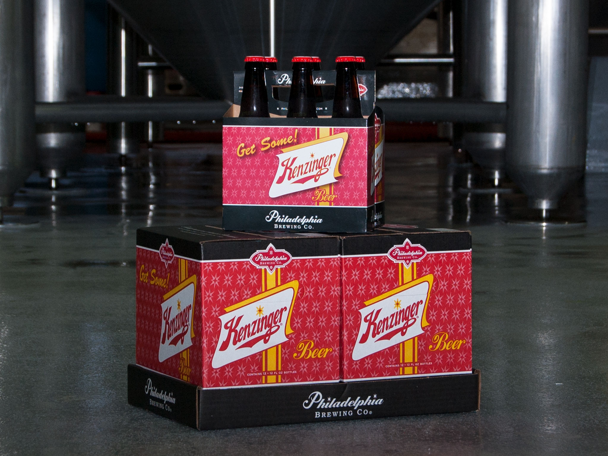 Note: The Kenzinger brand is a preexisting design. This image is meant to show the brand consistent 12 and 6 pack packaging.