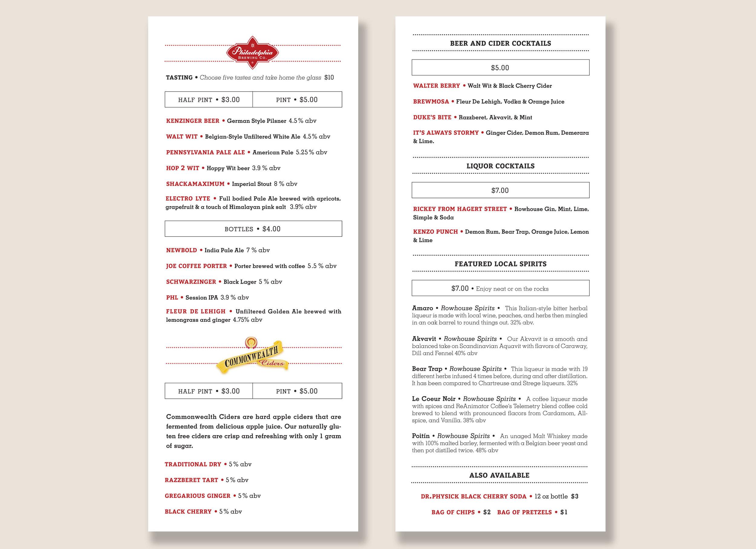 Philadelphia Brewing Co. tasting room menu