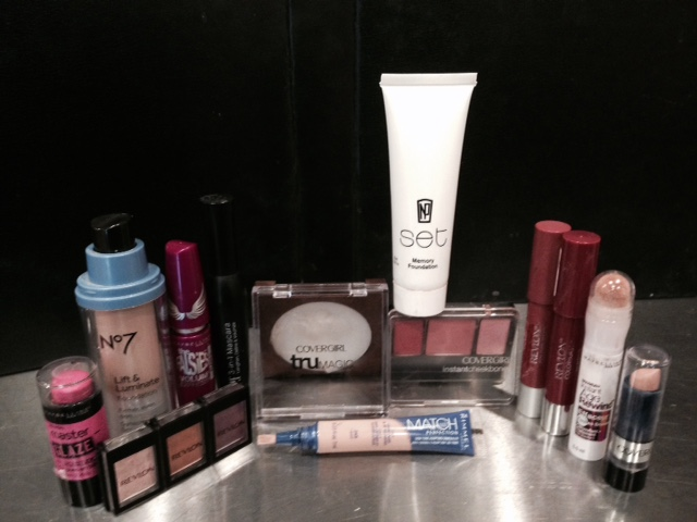Makeup from Target and CVS used in this experiment
