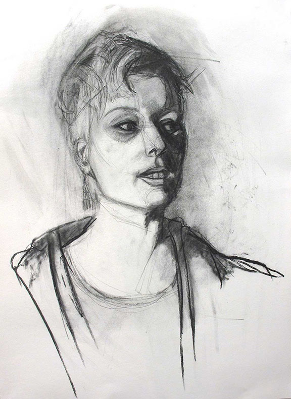 Study of Nikki.  2014. Charcoal on Paper. 3o inches x 44 inches.