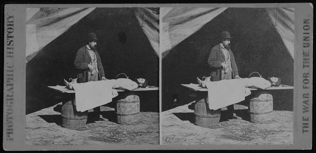 Dr. Richard Burr, Embalming Surgeon, Army of the James. [Stereograph]