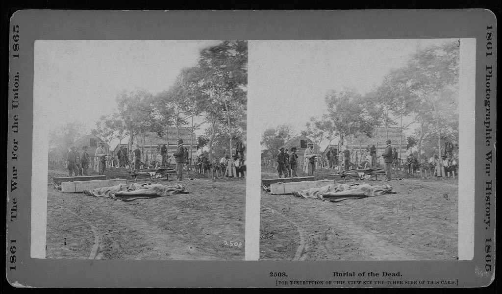 Burial of the dead. [Stereograph]