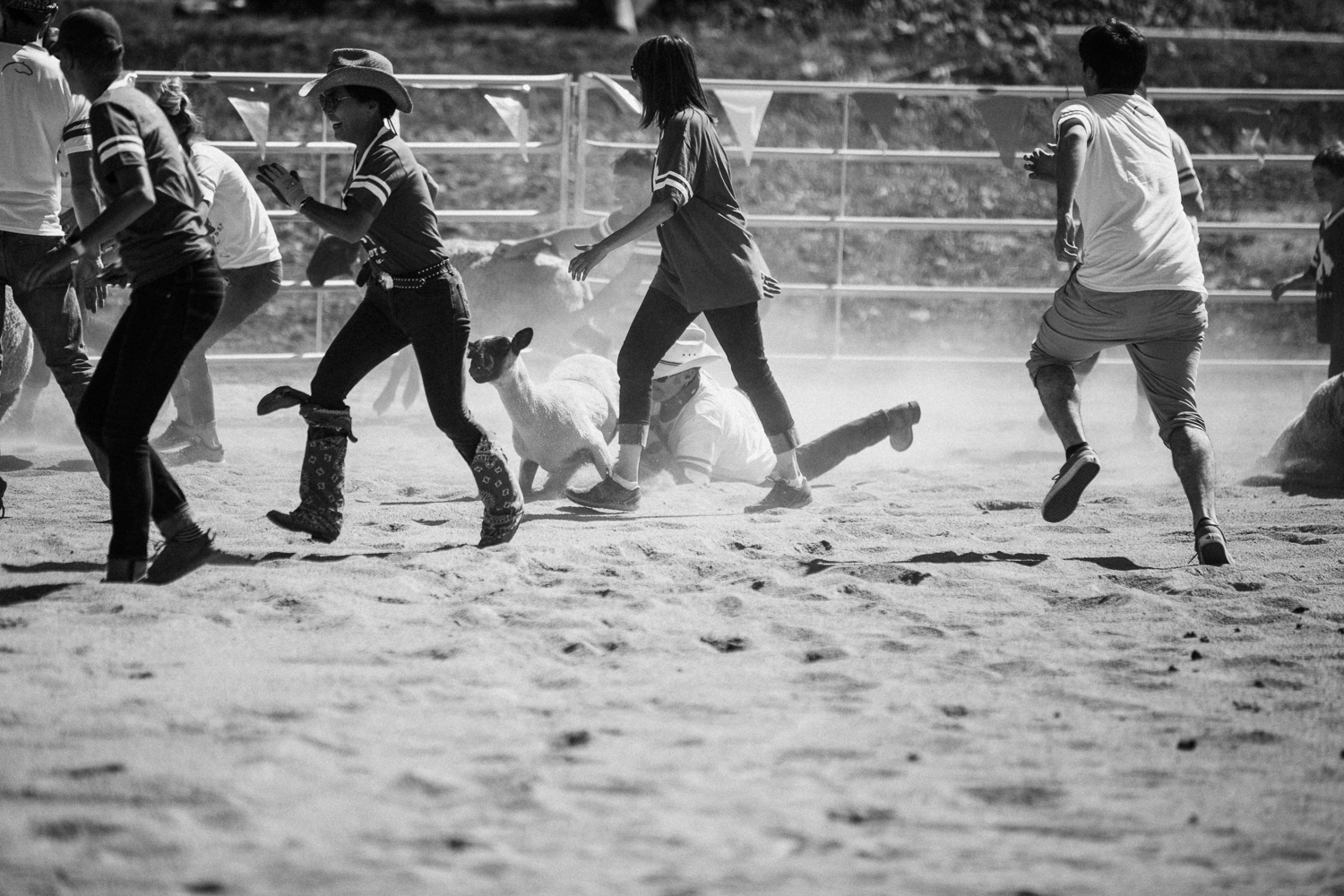 candid-documentary-photography-of-man-tackling-sheep-at-family-labor-day-celebration-park-city-ut
