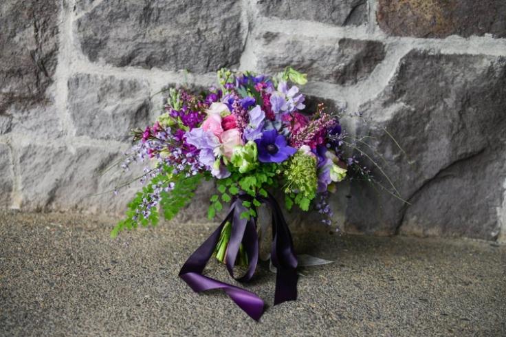 purple lavender spring bridal bouquet sophisticated floral portland oregon wedding florist