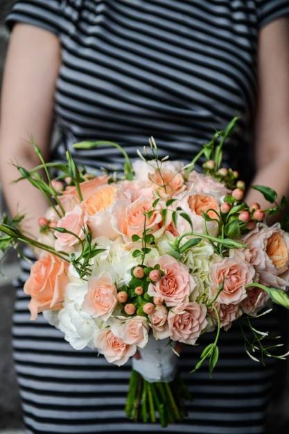peach coral bridal bouquet sophisitcated floral portland oregon wedding florist
