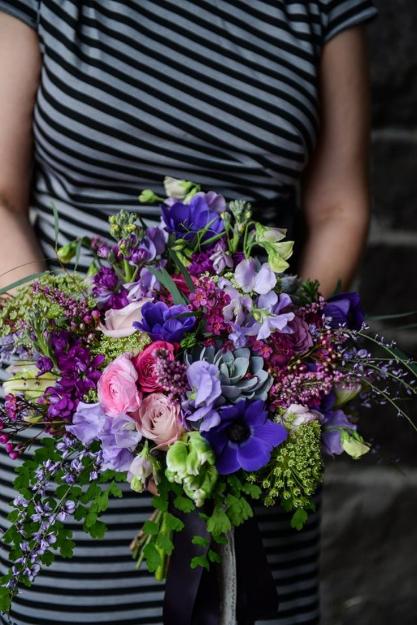 purple lavender garden bouquet sophisticated floral portland oregon wedding florist