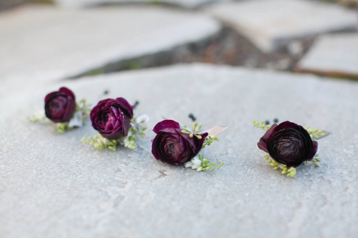 plum purple wedding flowers boutonnieres
