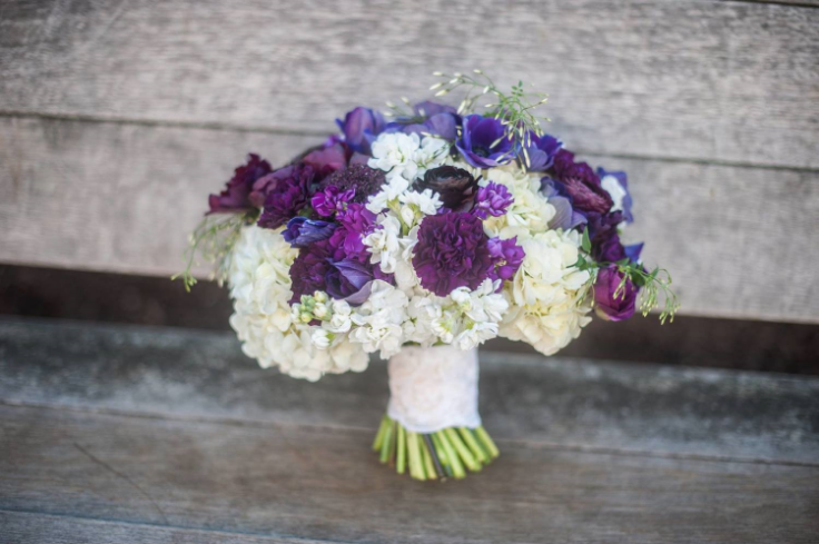purple white spring bouquet