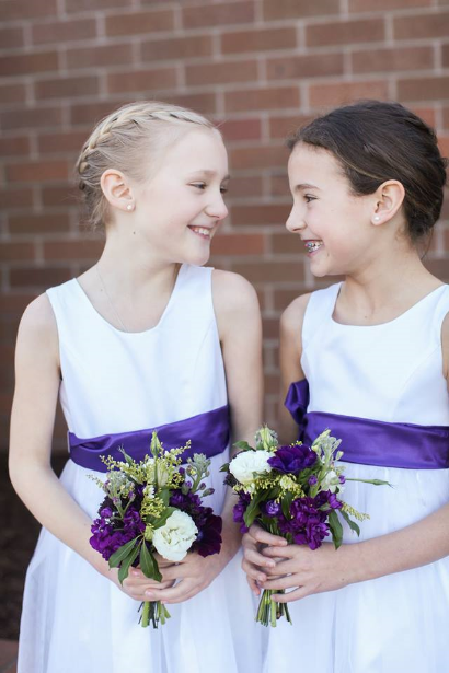 flower girls purple wedding bouquets