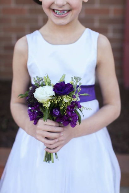 flower girl wedding flowers purple