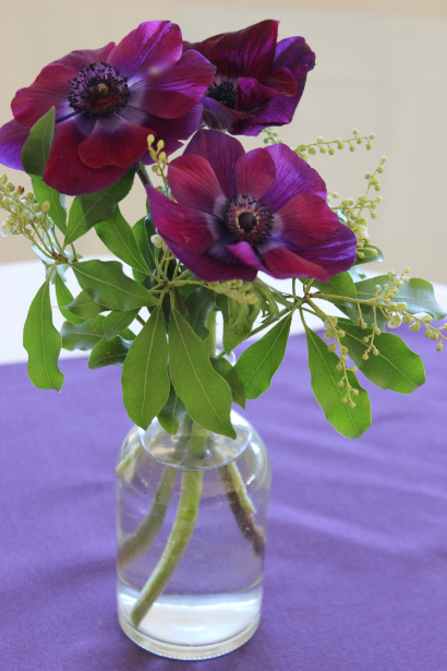 purple anemone centerpiece