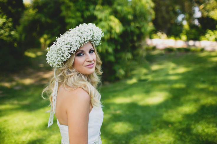 bride and floral crown babies breath sophisitcated floral portland wedding florist