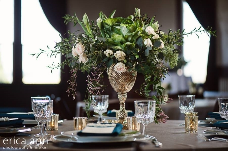 garden style centerpiece vintage glam gold teal green compote arrangement sophisticated floral designs