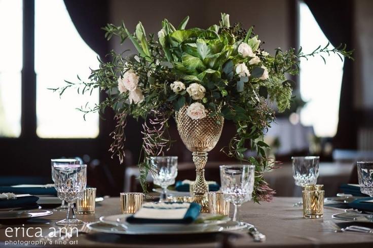 garden style centerpiece vintage glam gold teal green compote arrangement sophisticated floral designs
