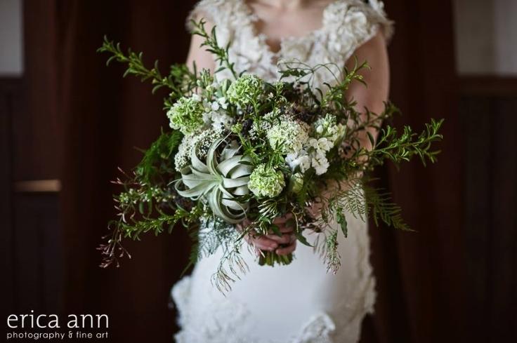 bridal bouquet garden style rustic elegance air plant tillandsia ranunculus sophisticated floral designs