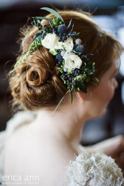 flowers for the hair floral comb botanical couture sophisticated floral designs portland oregon wedding florist