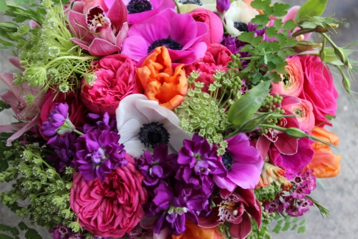 hot pink garden bouquet with garden roses and anemones