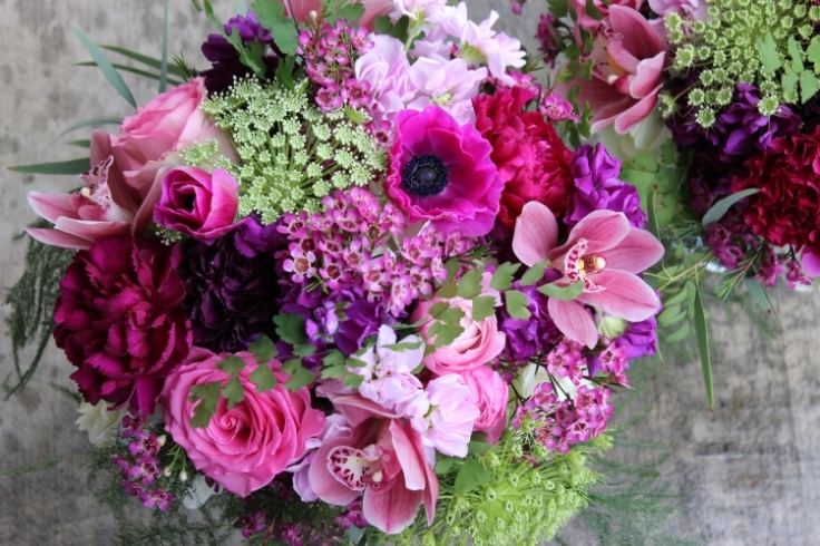 purple plum hot pink bouquet sophisticated floral designs portland oregon wedding florist