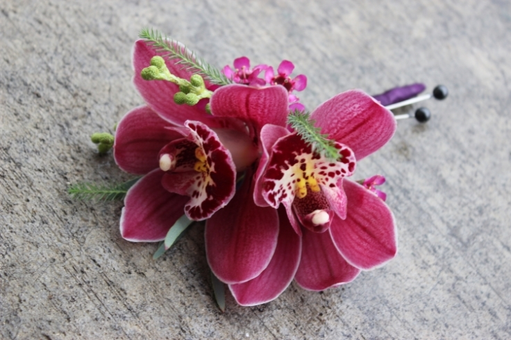 purple orchid boutonniere sophisticated floral designs portland oregon wedding florist