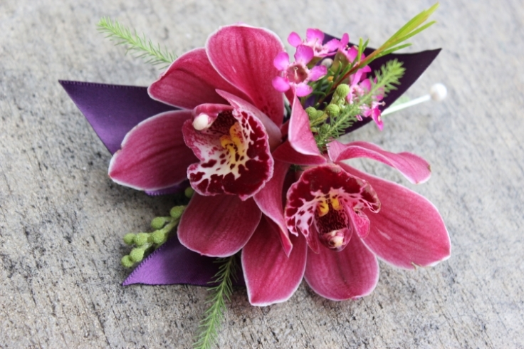 purple hot pink orchid boutonniere corsage  sophisticated floral designs portland oregon wedding florist