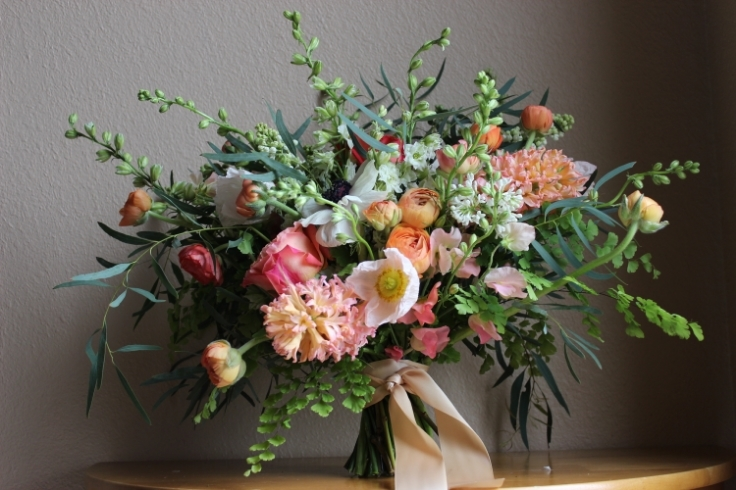 peach coral spring bouquet sophisticated floral designs portland oregon