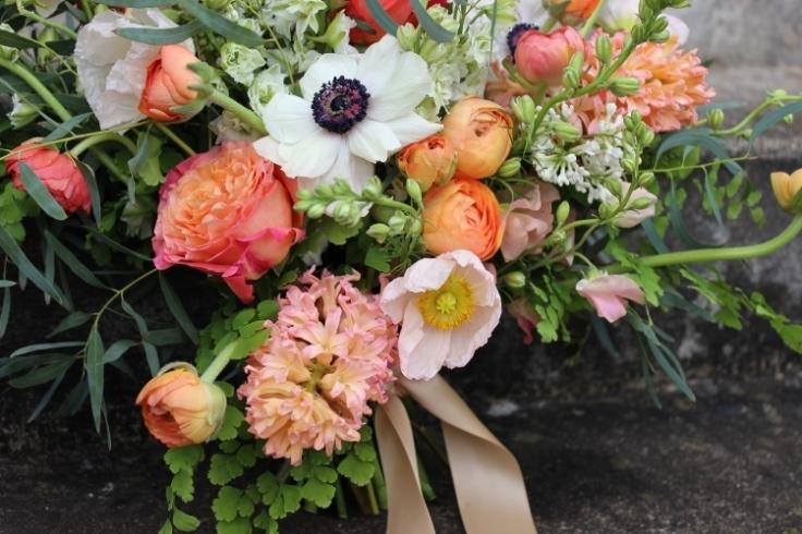peach coral wedding flowers bouquet sophisticated floral designs portland oregon