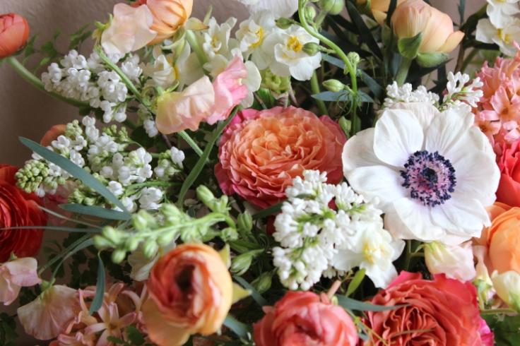 peach coral centerpiece sophisticated floral portland oregon