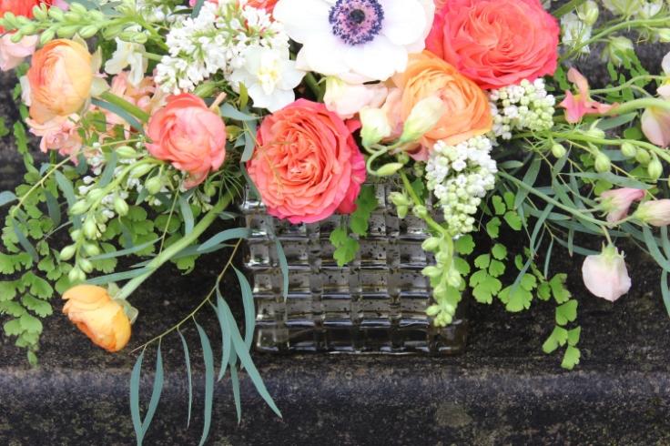 peach coral centerpiece sophisticated floral designs portland oregon