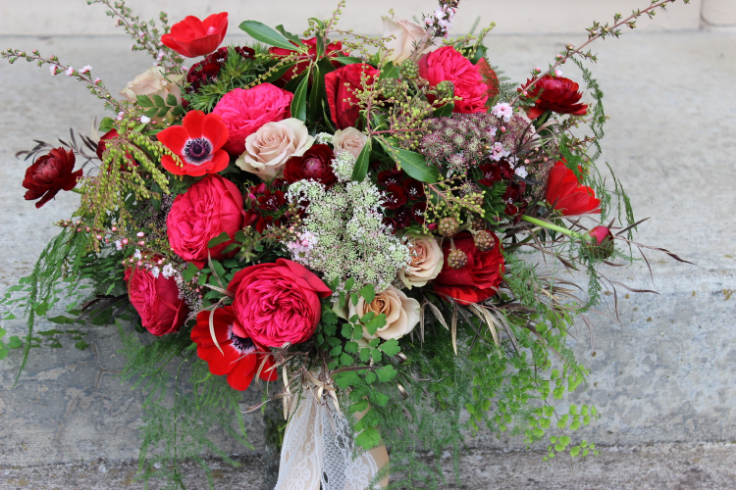 red burgndy garden rose bouquet sophisticated floral designs portland oregon