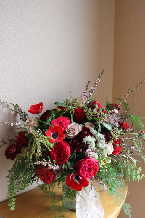 red locally grown bridal bouquet marsala color sophisticated floral designs
