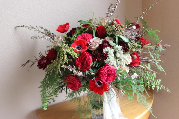 red rose garden bouquet marsala wedding